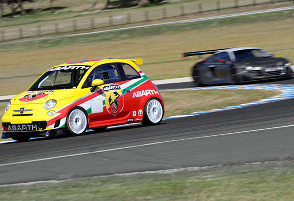 The Fiat 500 Abarth -- the smallest and slowest car in the 50-car field at this Sunday's Bathurst 12-Hour race -- will be equipped with a Bosch radar mounted on the hatchback that warns the driver of cars approaching from behind.