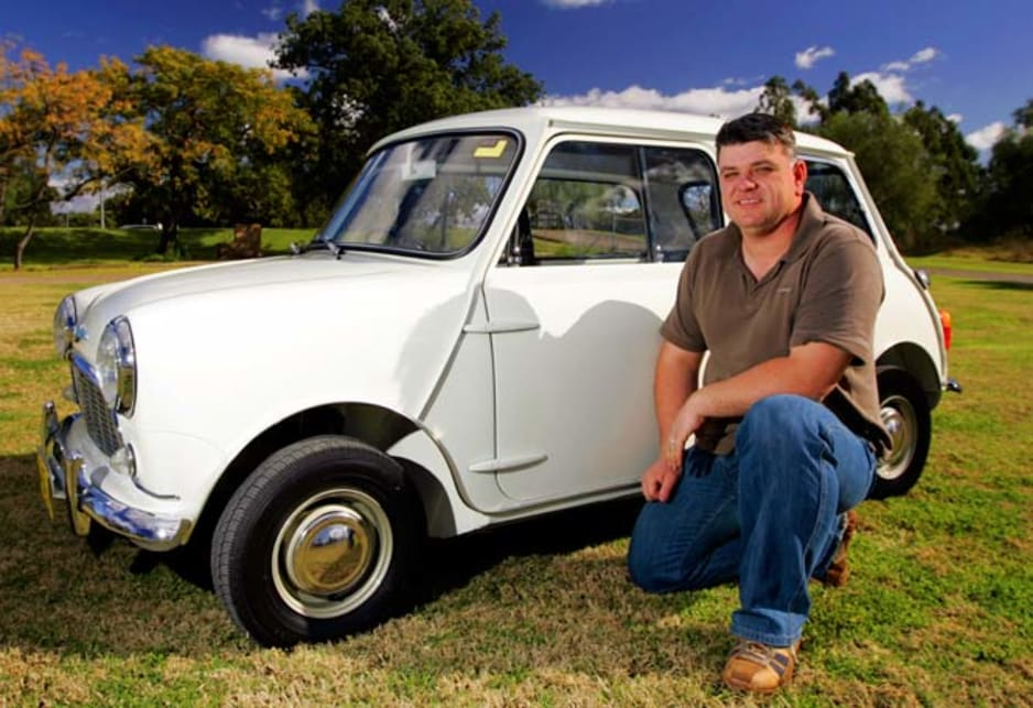 Robert Diamante with his 1964 Morris Sports 850.