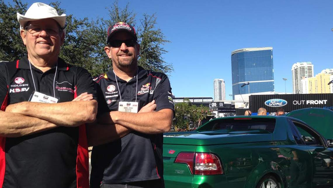 John Ehrlich (L) Randall Reese (R) at SEMA 2014 with a HSV Maloo ute converted to left hand drive