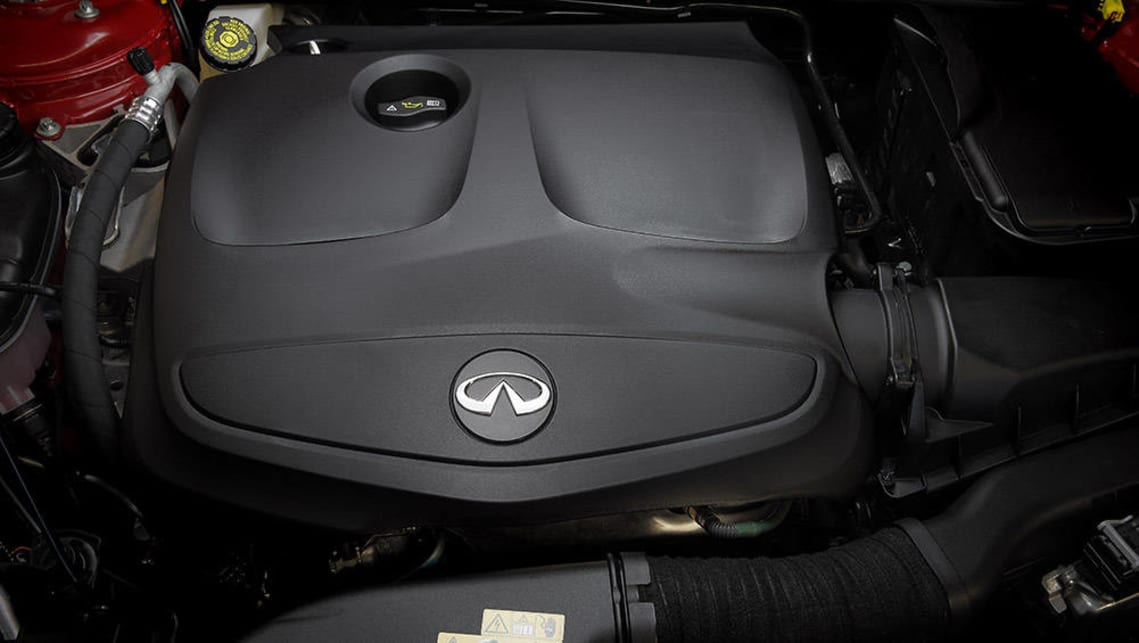 The 2016 Infiniti GT has a 1.6-litre turbocharged petrol engine making 115kW and 250Nm.