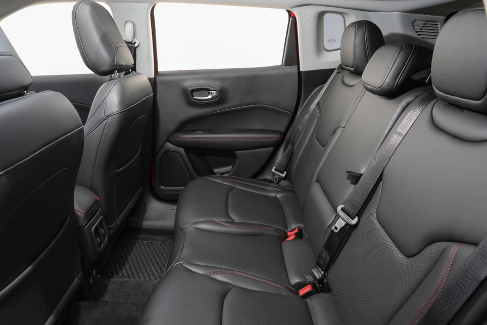 The Trailhawk also scores leather seats.