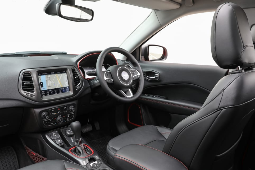 Inside, Apple CarPlay and Android Auto are standard on the Trailhawk.