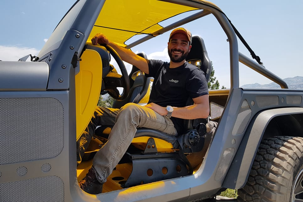 Jeep designer Chris Piscitelli in the Stitch concept.