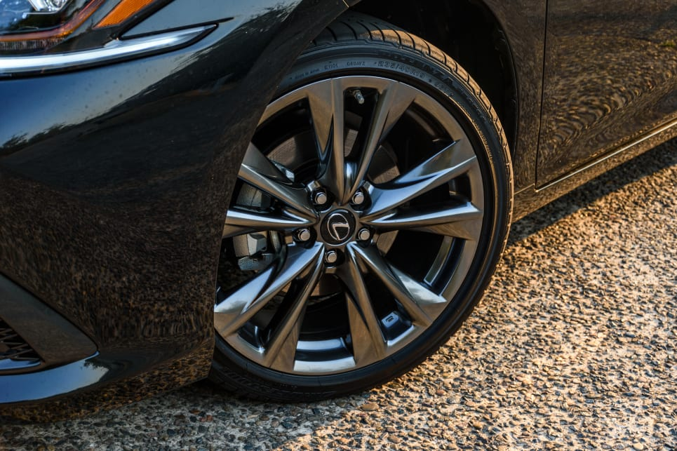 The F-Sport has 19-inch alloy wheels.