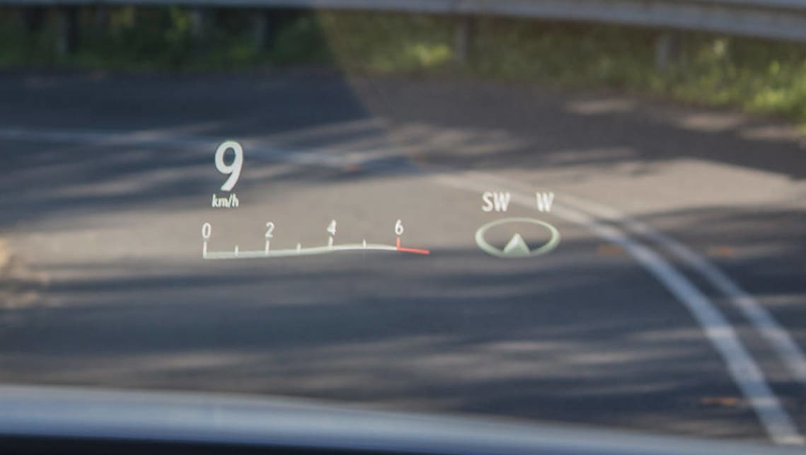 The 2016 F Sport's heads up display.