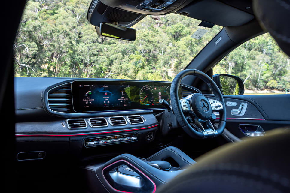 The Mercedes-AMG GLE 53's cabin is almost as confronting as its exterior. (image: Tom White)