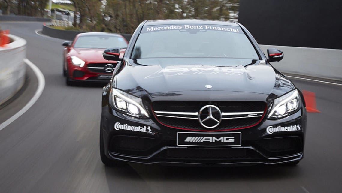 Mercedes-Benz C63 AMG and AMG GT S at Mount Panorama, Bathurst.