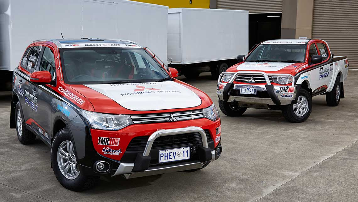 Mitsubishi's Outlander PHEV racer and the Triton support vehicle for the 2014 Australasian Safari rally.