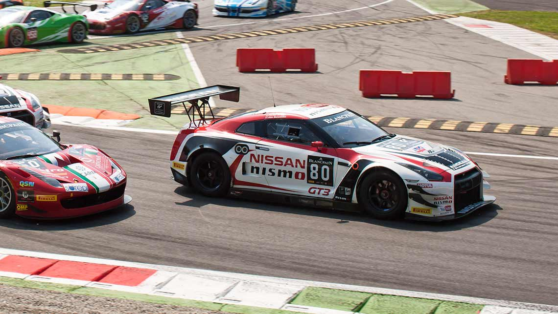 Katsumasa Chiyo drives a Nissan GT-R during a Blancpain Endurance Series race in Monza, Italy.