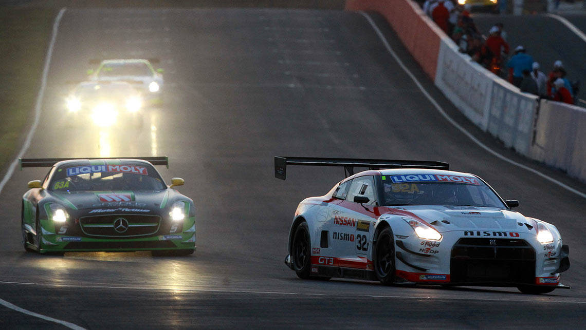 Nissan leads Mercedes-Benz AMG early in the 2014 Bathurst 12 Hour.