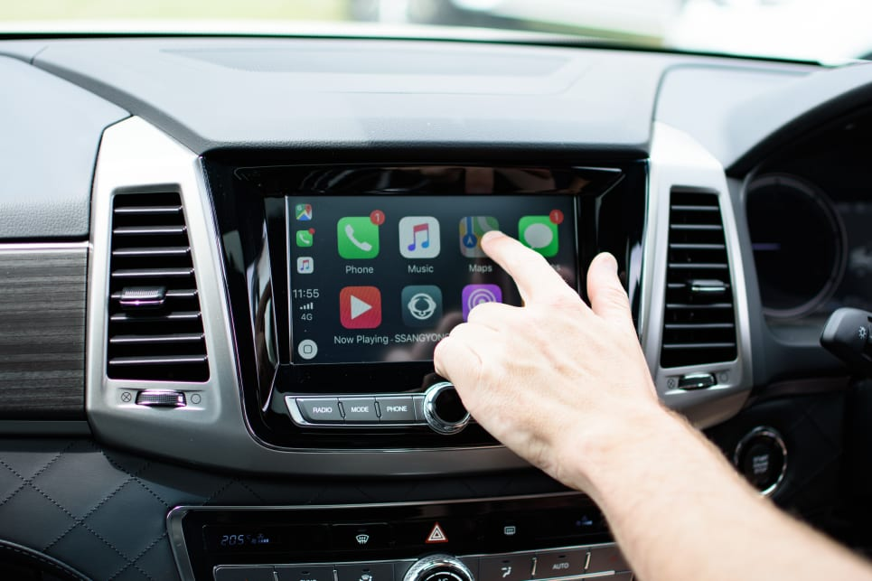The 8.0-inch screen on the Rexton has Apple CarPlay and Android Auto but no CD player.