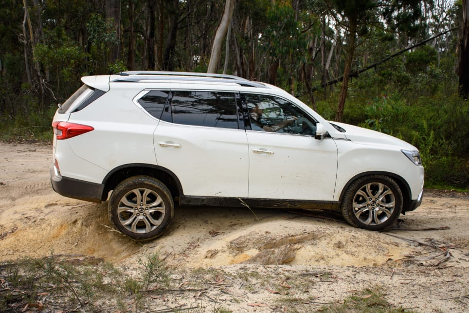 The SsangYong  made it up the climb with decent axle droop and surprising grip.