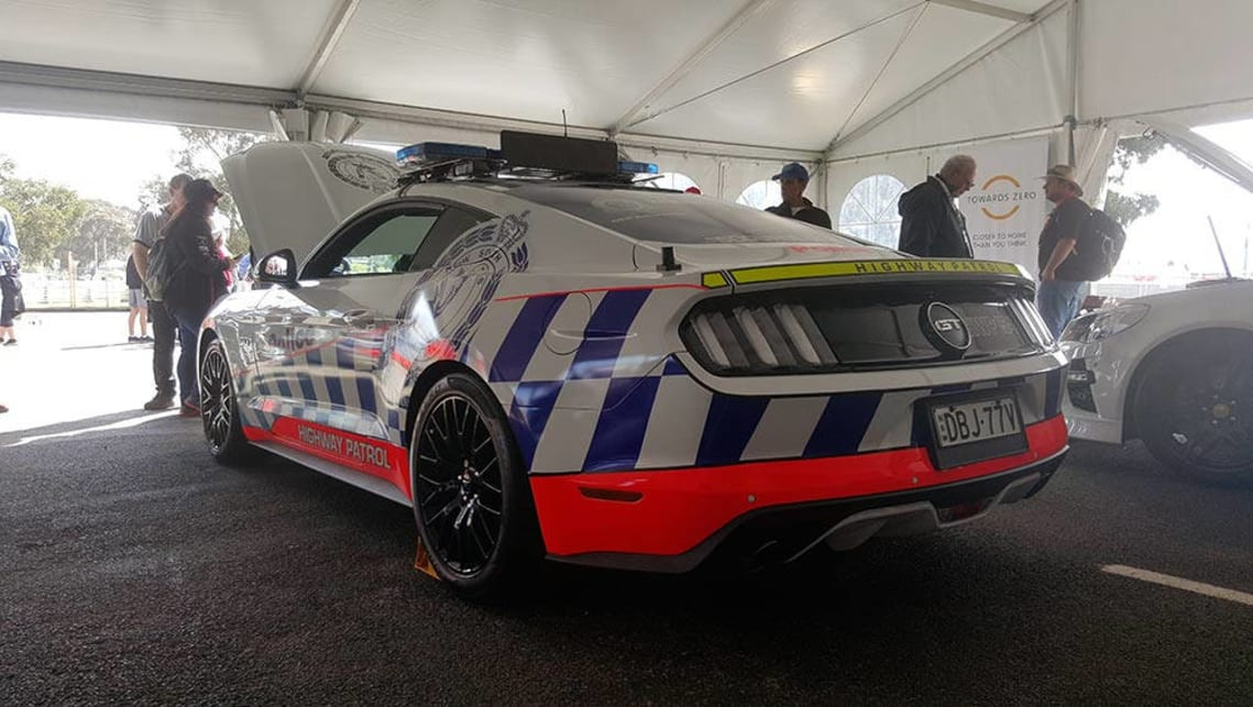 A mustang in Police livery at Bathurst.