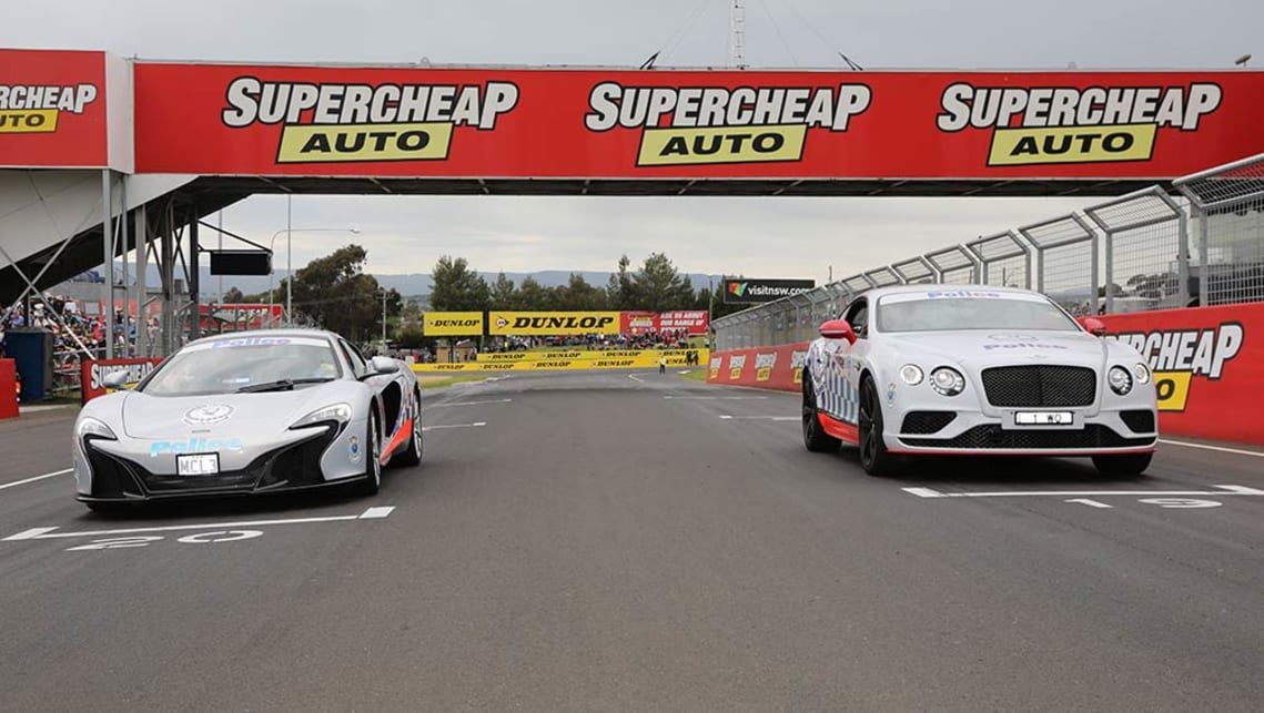 A McLaren 650S Spider and a Bentley Continental GT in official Police livery at the Bathurst 1000. Image credit: Stephen Baldwin