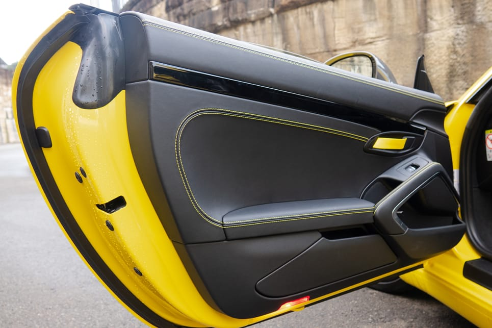 The inside of our test car was treated to the $7,490 Full Leather Package with yellow details.