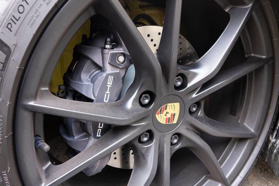 Ours had the 20-inch Carrera S wheels optioned in black.