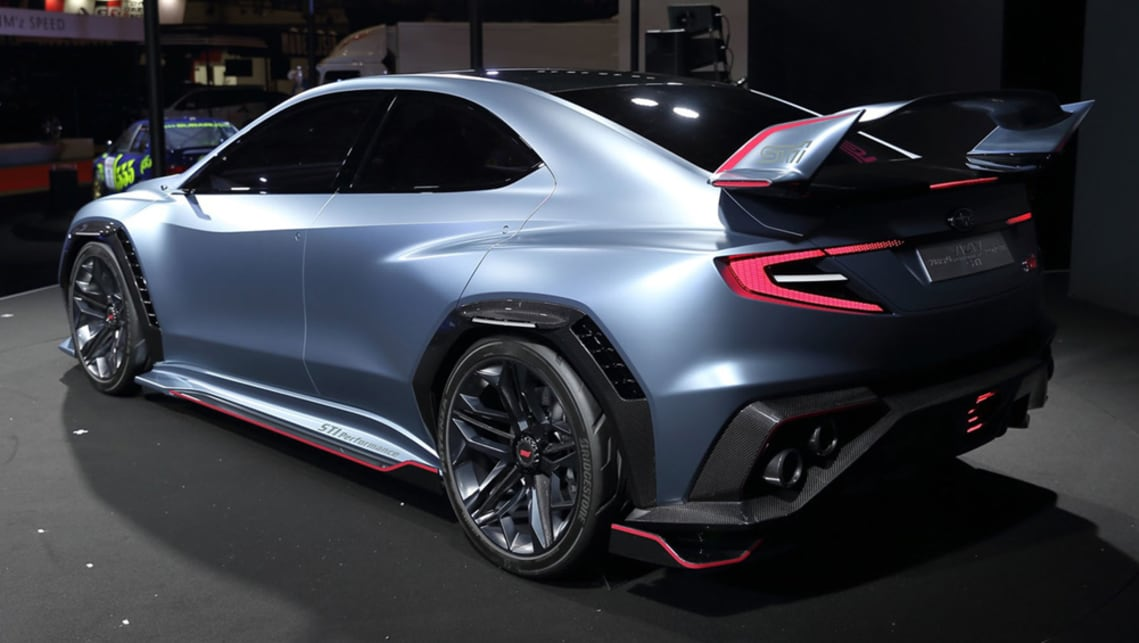 The STI-fettled concept also has a distinct aero package with widened side skirts, vented wheelarches and protruding rear diffuser.