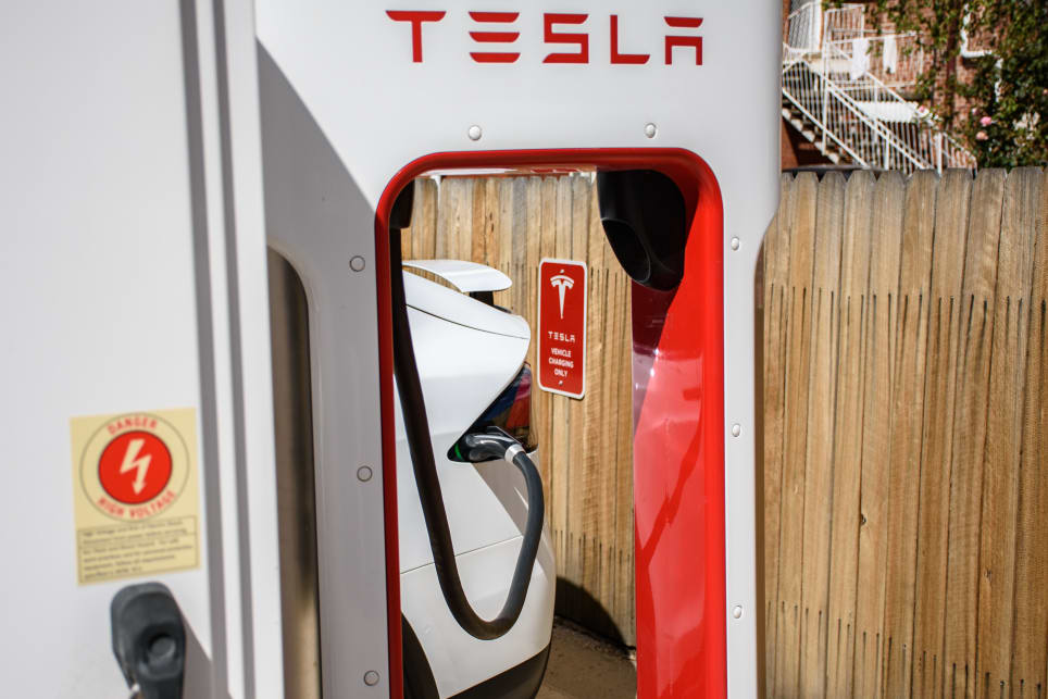 This is a Telsa Supercharger charge point. (image: Tom White)