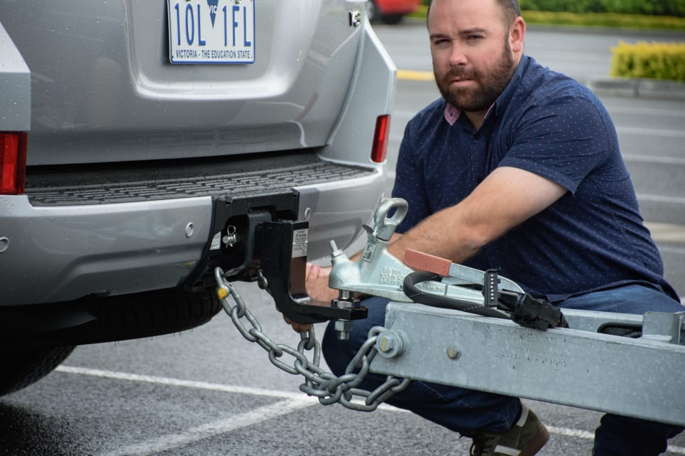 The LandCruiser's conventional hitch made connecting the Avida Wave a relative cinch. (image: Tom White)