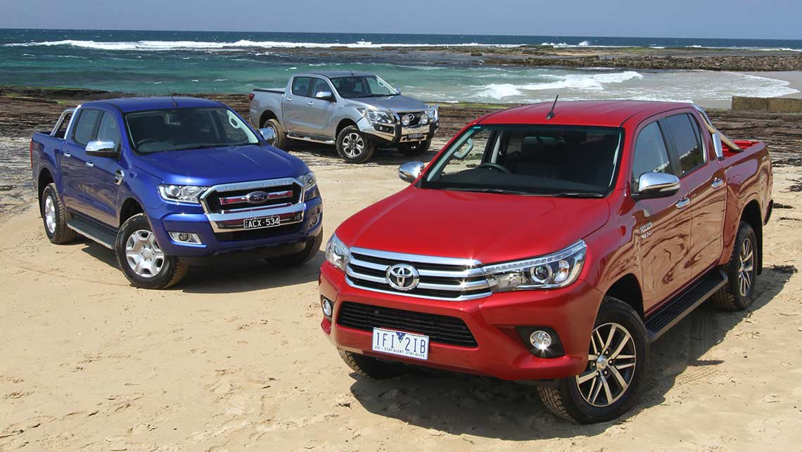 2015 Toyota HiLux, Ford Ranger and Mazda BT-50. Photo credit: Joshua Dowling