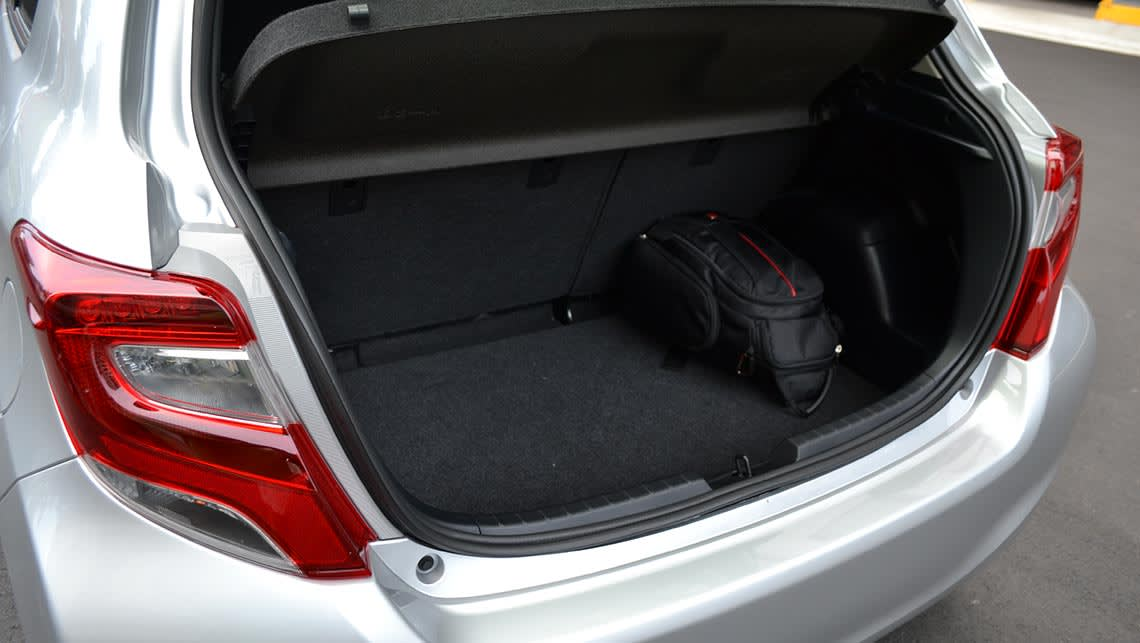 The Yaris's 286-litre boot is smaller than the Jazz, but near identical the the new Mazda2.