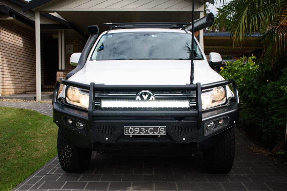 Campbell has added a bullbar to his Amarok.