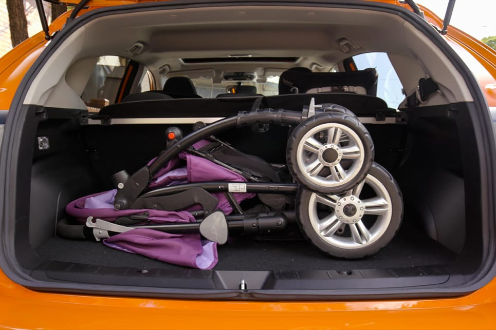 It fits the very bulky CarsGuide pram with room to spare.