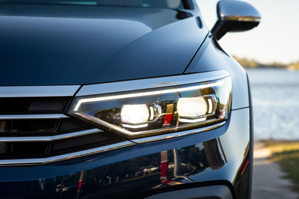 The Passat has LED headlights.