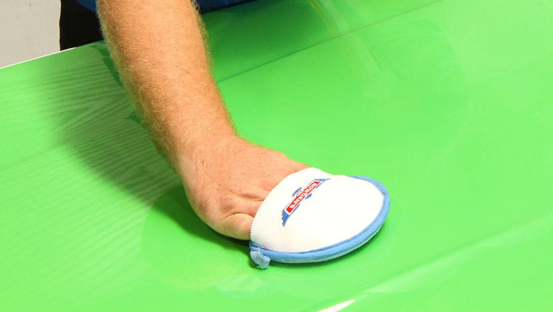 Wax is best applied with an applicator pad in circular motions.