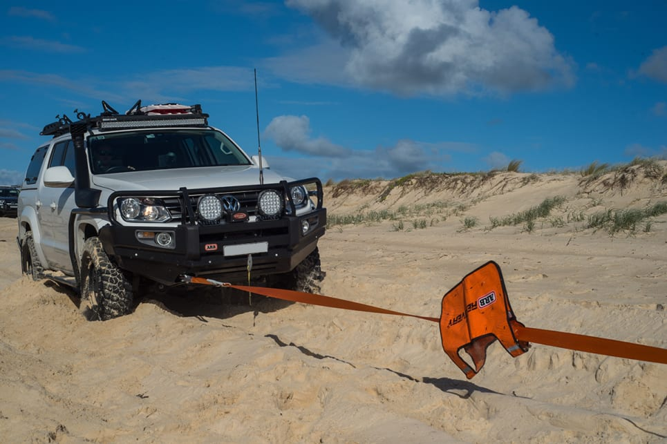 Always use a rated recovery point to 'snatch' a vehicle out of strife. Image credit: Brendan Batty.