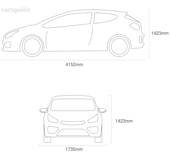 Dimensions for the Audi A3 2001 include 1423mm height, 1735mm width, 4152mm length.