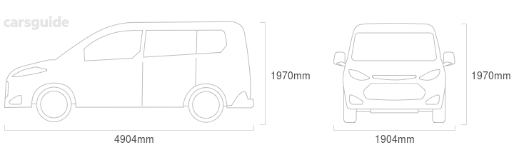 Dimensions for the Volkswagen Multivan 2016 Dimensions  include 1970mm height, 1904mm width, 4904mm length.