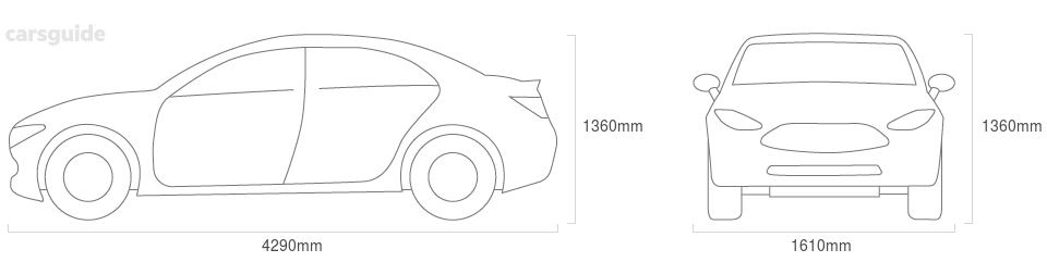 Dimensions for the Volkswagen Passat 1980 include 1360mm height, 1610mm width, 4290mm length.