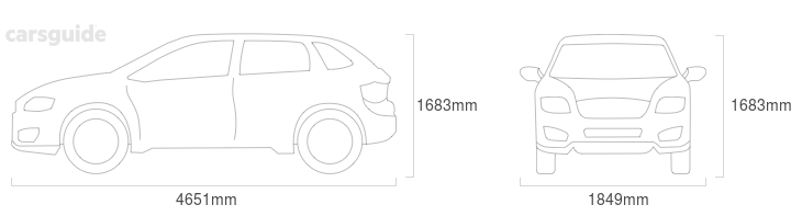 Dimensions for the Jeep Cherokee 2019 Dimensions  include 1683mm height, 1849mm width, 4651mm length.