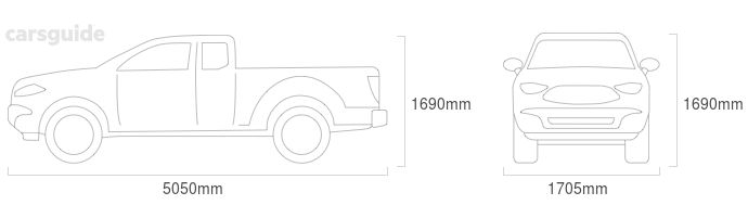 Dimensions for the Mazda B2600 1988 Dimensions  include 1690mm height, 1705mm width, 5050mm length.