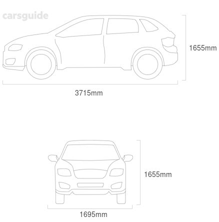Dimensions for the Toyota RAV4 1997 Dimensions  include 1655mm height, 1695mm width, 3715mm length.