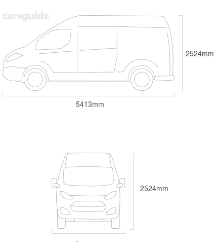 Dimensions for the Fiat Ducato 2008 include 2524mm height, — width, 5413mm length.