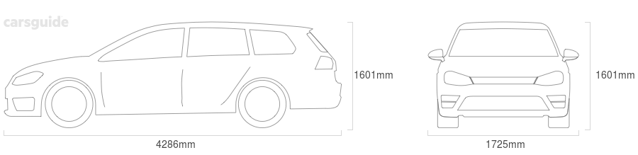 Dimensions for the Chrysler PT Cruiser 2002 Dimensions  include 1601mm height, 1725mm width, 4286mm length.