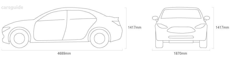 Dimensions for the Ford Fairmont 1971 Dimensions  include 1417mm height, 1870mm width, 4689mm length.