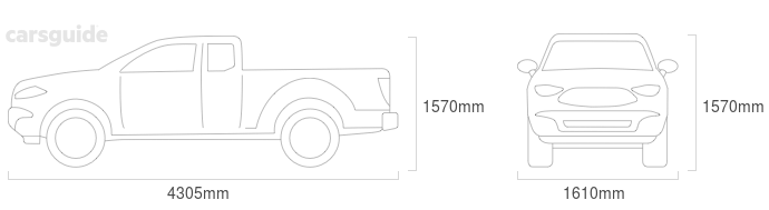 Dimensions for the Toyota HiLux 1976 include 1570mm height, 1610mm width, 4305mm length.