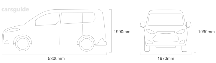 Dimensions for the Toyota Granvia 2019 include 1990mm height, 1970mm width, 5300mm length.