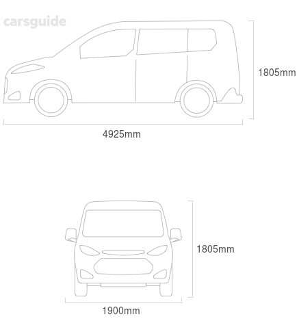 Dimensions for the Kia Carnival 2004 Dimensions  include 1805mm height, 1900mm width, 4925mm length.