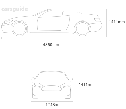 Dimensions for the BMW 125i 2013 Dimensions  include 1411mm height, 1748mm width, 4360mm length.