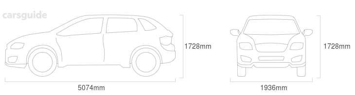 Dimensions for the Mazda CX-9 2009 include 1728mm height, 1936mm width, 5074mm length.