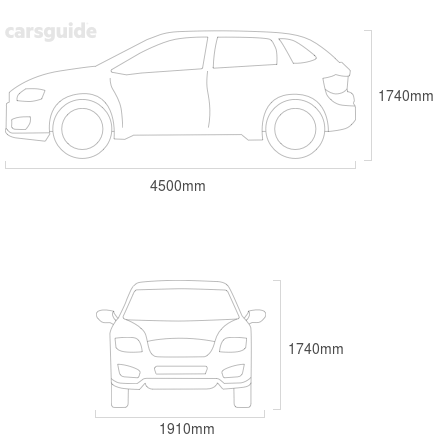 Dimensions for the Land Rover Freelander 2 2012 include 1740mm height, 1910mm width, 4500mm length.