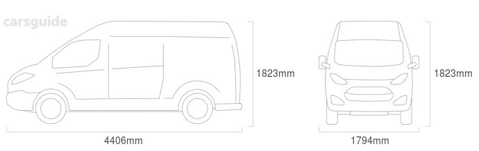 Dimensions for the Volkswagen Caddy 2013 Dimensions  include 1823mm height, 1794mm width, 4406mm length.