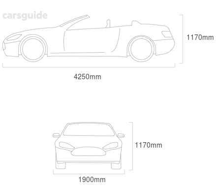 Dimensions for the Ferrari F355 1999 Dimensions  include 1170mm height, 1900mm width, 4250mm length.