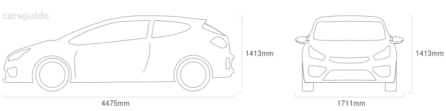 Dimensions for the Kia Mentor 1999 include 1413mm height, 1711mm width, 4475mm length.