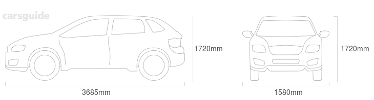Dimensions for the Daihatsu Feroza 1993 Dimensions  include 1720mm height, 1580mm width, 3685mm length.