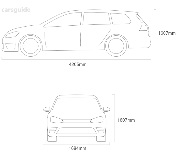 Dimensions for the Skoda Roomster 2008 Dimensions  include 1607mm height, 1684mm width, 4205mm length.